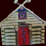 A Baba-Yaga house from cardboard and ethafoam. The actor wore this and her face showed when the she opened the red doors.